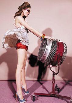 Wind. Fan, model, dress