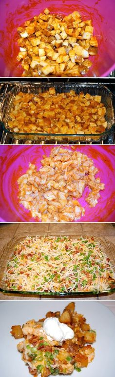 If you like it a little hot this is a very good recipe. I lowered the temp to 450 and shortened cooking time by 10 min. Loaded Baked Potato & Chicken Casserole