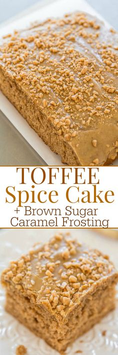 Toffee Spice Cake with Brown Sugar Caramel Frosting - An EASY, soft, and fluffy spice cake with toffee bits inside and on top!! The frosting is AMAZING and takes this cake over the top!!