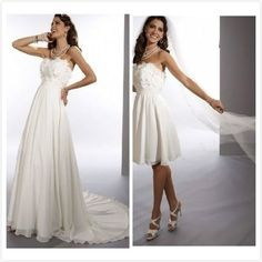 $5 Chiffon Strapless Sheath 2 in 1 Wedding Dress with Convertible Skirt on http://AliExpress.com. $220.00 $5 Deal