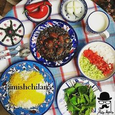 An Iranian traditional dish: main course is herb stew and saffroned rice 😋yogurt with mint, cucumber salad and a sour yogurt drink comes with this delicious dish. Persian Restaurant, Iran Food, Iranian Cuisine, Vegetable Stew, Dinner Entrees, Middle Eastern Recipes, Arabic Food, Tasty Dishes, Side Dishes