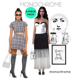 """Monochrome"" by prettysexiness ❤ liked on Polyvore featuring Motel, Neil Barrett, Evelin Brandt, New Look, 3.1 Phillip Lim, Fornasetti, Gianvito Rossi and monochrome"