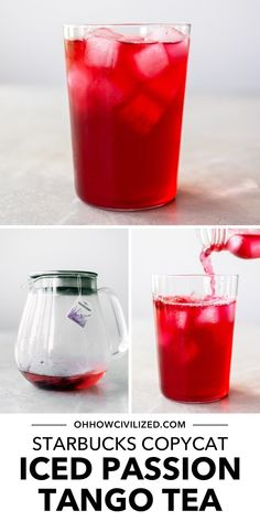 This copycat recipe for the Starbucks Iced Passion Tango Tea makes a 16-oz drink that tastes exactly like the store-bought version! Iced Passion Tango Tea is a herbal caffeine-free drink made of hibiscus, apple, and lemongrass. It's the perfectly pretty and hydrating drink to serve to guests on your next afternoon tea time session. Learn how to make it in just 5 minutes with this guide - click to continue. Milk Tea Recipes, Iced Tea Recipes, Starbucks Recipes, Homemade Iced Tea, Hydrating Drinks, Perfect Cup Of Tea, Tea Sandwiches, Brewing Tea, Best Tea