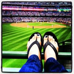 """#ShoeSelfie """"At Miller Park watching the Brewers win in my lucky Okabashis!"""" via @Kalarabe  #Okabashi #Shoes #Selfie #MillerPark #Brewers #Baseball #FlipFlops"""