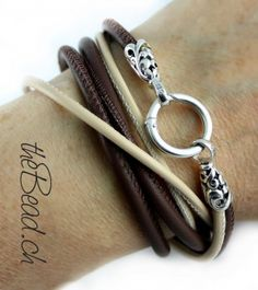 wrap leather bracelet LATTE MACCHIATO  with 925 sterling silver