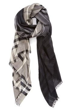 Burberry+'Ombré+Check'+Wool+&+Silk+Scarf+available+at+#Nordstrom