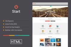 Start - Responsive One Page Template by YoArts on Creative Market