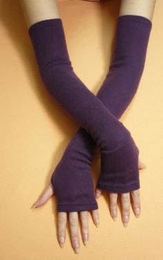 Long Plum Upcycled Cashmere and Silk Arm warmers, Fingerless Knit Gloves, Purple Soft and Warm Women recycled Sleeves, Boho Style, Winter