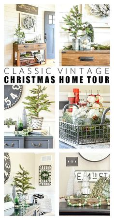 A Clic Christmas Home Tour Featuring Silver And Green Pops Of Red Vintage Decor