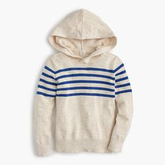 Shop J.Crew for the Boys' striped popover hoodie. Find the best selection of Boys Shirts & Tops available in-stores and online. Boys Sweaters, Boys Hoodies, Cashmere Sweaters, Mens Suits, Boy Fashion, What To Wear, J Crew, Clothes, Shopping