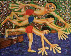 Jump Off Dock/Maarit Korhonen, acrylic, oil sticks, canvas, 73cm x 92cm Dark Paintings, Original Paintings, Online Painting, Artwork Online, Dancer In The Dark, Autumn Painting, Original Art For Sale, Artists Like, House Painting