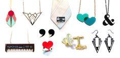 plastique--laser cut acrylic and enamel jewelry