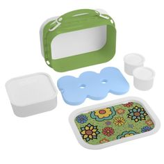 Cute Colorful Flowers on Green Yubo Lunchboxes. Personalize with your own text. Detachable handle for horizontal or vertical carrying! BPA free, phthalate free , and lead free. Includes sandwich holder, two small containers, and ice pack. http://www.zazzle.com/littlethingsdesign