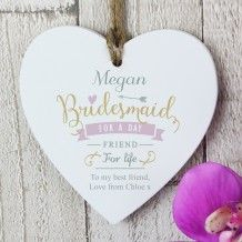 Bridesmaid Wooden Heart Decoration Personalized Wedding Gifts Personalised