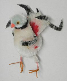 Vintage chenille pipe cleaner bird by EmzTreasurz on Etsy
