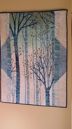 Art Quilt Forest Wall Hanging in Blues and Creams by djwquilts