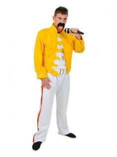If you can sing like Freddie Mercury—go for it! But get his look here with this Yellow Rock Star Costume. Resembles the outfit worn at Wembly Stadium in Size: standard. Pirate Halloween Costumes, Couple Halloween Costumes For Adults, Adult Costumes, Couple Costumes, 1980s Fancy Dress, Fancy Dress Store, Girl Group Costumes, Woman Costumes, Greek Goddess Costume