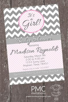 Chevron It's A Girl Baby Shower Invitations - 1.00 each with envelope