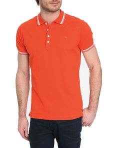 DIESEL, Oin Orange Short-Sleeved Polo Shirt with Trim on Collar