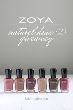I'm giving away the newly released Zoya Naturel Deux (2) collection at http://www.fabfatale.com/2014/08/zoya-naturel-deux-swatches/ #zoya #nailpolish #giveaway