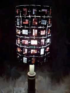 Lamp Shade made of 35mm color slides from a 1987 art history book....another lampshade made from slides! I MUST DO THIS with the hundreds of old slides I have from my grandad
