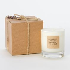 Made from soy wax and organic essential oils in Napa Valley, this lavender-scented candle is clean-burning and thoroughly relaxing. Soy Wax Candles, Diy Candles, Scented Candles, Aroma Candles, Candle Packaging, Candle Labels, Candle Branding, Pretty Packaging, Candle Maker