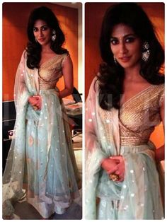 Chitrangda Singh in Meera Muzaffar Ali- Love those jhumkis by Curio Cottage and the colour of the skirt.