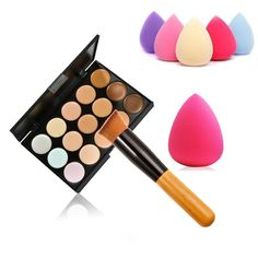 [Visit to Buy] Brand Concealer Palette Makeup +Makeup Brushes+ Teardrop-shaped Cosmetic Puff Makeup Base Foundation Face lips makeup #Advertisement