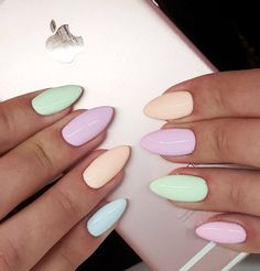 Blue - Cafe del Mar, Peach - Ibiza Chill, violet - Olala, green - Nevermint, pink- Martini&Bikini by Emilia Tokarz, Indigo Young Team Kraķów #nails #nail #pastel #indigo #natalia #siwiec #omg #wow #new #spring #collection #hot #pink