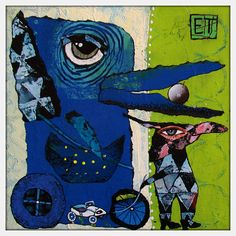 Elke Trittel acrylics,collage 20/20cm on board