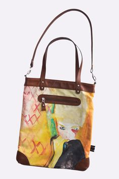 Watercolour painting on a handbag - love!  From www.victoriaverbaan.com
