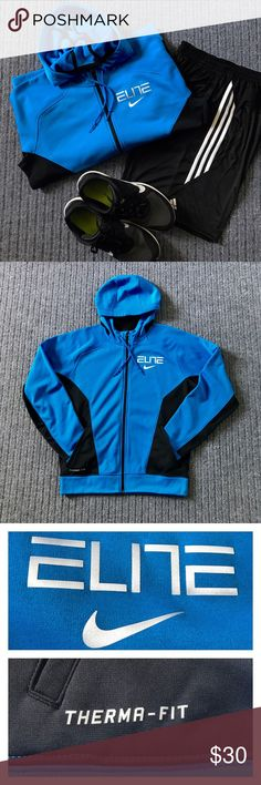 🔷Men's NIKE ELITE Zip-Up Hoodie🔷 Pre-owned. In EXCELLENT condition with absolutely NO stains, rips or odors. It is made of an incredibly durable fleece material that is sure to keep you warm when exercising or just wearing around the house. Features the Nike Swoosh and Elite logos on the upper left breast. It comes in an electric blue and black color-way. Nike Shirts Sweatshirts & Hoodies