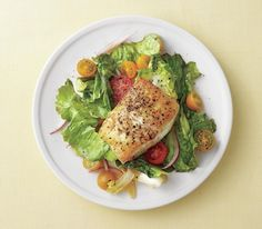 Seared Fish with Tomatoes and Garlicky Escarole and other dinners that are 400 calories or less!