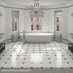 Sehr luxeriös kommt dieses stilvolle, fast schon pompös große Badezimmer daher. Die weißen Metro-Fliesen verstärken das Ganze zusätzlich. Zwei…