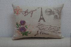 """Купить Подушка из серии """"Письма из Парижа"""" Розы - серый, винтаж, подушка, оригинальный подак, Париж"""