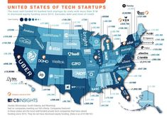 Our map infographic shows the top tech startups in every US state, as determined by funding totals. Companies include JUUL Labs, Magic Leap, and Vox Media. Blockchain, U.s. States, United States, Star Company, Innovation, Technology Management, 21st Century Fox, Menlo Park, Visualisation