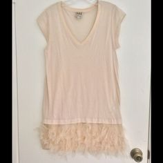 Haute Hippie Pink Feathered Dress Very cute tshirt dress with feathers around the bottom. Reposting as it is too small for me.  Size XS, Haute Hippie Dresses