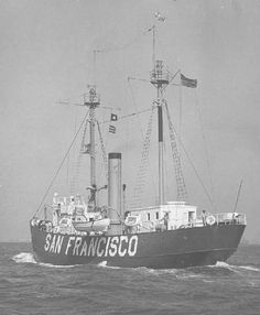 """Original caption: """"SAN FRANCISCO Lightship No. 83, 24 August, 1947, On trial trip after machinery overhaul, installation [of] new decks (caulked with Minnesota Mining & Mfg. Co. No. EC-754), duplex lanterns, cargo hatch and davits.  Cargo ports permanently closed off.""""  Photo No. 9244711; 24 August 1947; photographer unknown"""