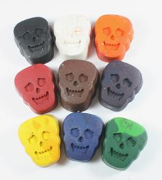 9 Recycled Skull Crayons - solid colors or mixed - halloween, back to school, skeleton, bones, party favor, trick or treat