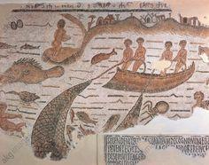 Roman civilization, 3rd century A.D. Mosaic depicting net fishing and octopus fishing. From Sidi Abdakkah, Tunisia. Tunis, Musée National Du Bardo (Archaeological Museum)