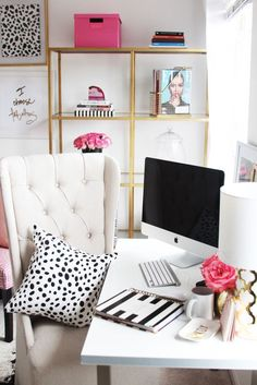 Kate spade inspired bedroom. Office space. Desk decorations. desk organization tips.