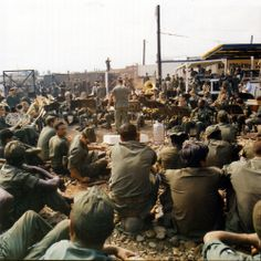 The United States Army Band plays Christmas music at the Tan Son Nhut Air Base in Vietnam during the holiday season, December 22-29, 1970.