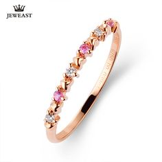 18K Pure Gold Ring For Woman Wedding Engagement Gifts Female Pink Diamond Real Rose Gold Finger Rings  AU750 Rury Customizable