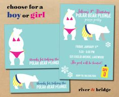 Items similar to polar bear plunge // birthday party invitation and thank you card on Etsy Polar Bear Party, Polar Bears, Dog Birthday, Birthday Ideas, August James, Sweet Sixteen, Event Ideas, Birthday Party Invitations, Baby Ideas