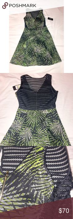 """Guess Black Mess Printed Fit&Flare Dress Size 4 New with tags . V-neck. Sleeveless. Partial front exposed metal zip closure . Sheer striped mesh net back and side construction . Based waist. Pleated skirt. Textured overall print. Lined . Approx 35"""" length . Fits true to size . Nordstrom rack. Guess Dresses Backless"""