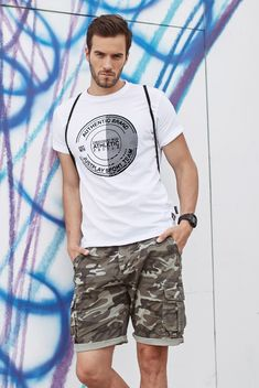 Brilliant white printed T-shirt from the Bolf collection. It's light and airy - made from high-quality cotton. The presented model has got a noticeable print and is highly comfortable. Wear it with shorts, joggers or jeans. Match it up with a sweatshirt or a blazer.