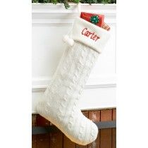 Personalized White Cableknit Christmas Stocking