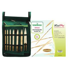 KnitPro Bamboo Interchangeable Circular Needles Set - Deluxe is a complete set of 10 pairs of the most commonly used circular needles sizes mm. The needles are made in the finest Japanese bamboo, which is a pleasure to knit. Wooden Knitting Needles, Knitting Needle Sets, Cable Needle, Japanese Bamboo, Circular Needles, Green Fabric, Needles Sizes, Gliders, Tricks