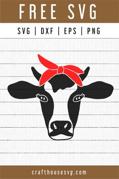 FREE Cow SVG - Cow Bandana SVGYou'll get one zip file containing:SVG file for Cricut, Silhouette Designer Edition and more.DXF file for Silhouette Basic Edition (free Silhouette software)EPS file for Inkscape, Adobe Illustrator and more. Vinyl Crafts, Vinyl Projects, Silhouette Curio, Free Silhouette, Artwork Meaning, Brand Symbols, Hot Dog Bar, Watercolor Texture, Embroidery Files