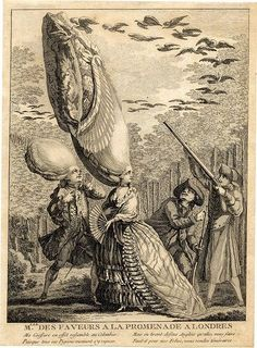 Etching ridiculing a Frenchwoman, as an Englishman shoots at birds nesting in her wig, 1775.